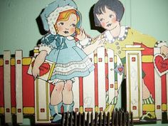 Children meet at a gate in this darling vintage Valentine. From the Meadowview Farm blogspot.