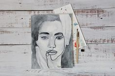 One Line Face Art | Abstract Drawing Woman | Original Watercolor Painting | Black White Girl Portrait | Artwork for Walls | Office Wall Art