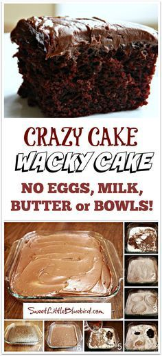 CRAZY CAKE, also known as Wacky Cake & Depression Cake- No Eggs, Milk, Butter,Bowls or Mixers!!  Super moist & delicious!!  Great activity to do with kids!!  Go to recipe for egg/dairy allergies.  Recipe dates back to the Great Depression.  It's darn good cake!! |  SweetLittleBluebird.com