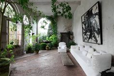 Axel Vervoordt's Castle Conservatory Garden, Garden room, living room with a garden, sun room, ideas. Casa Hygge, Outdoor Rooms, Outdoor Living, Indoor Outdoor, Outdoor Seating, Indoor Garden, Home And Garden, The Garden Room, Garden Living