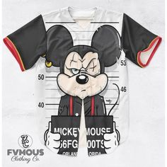 MICKEY FRIENDS MUGSHOTS (7 STYLES AVAILABLE) ($60) ❤ liked on Polyvore featuring shirts and baseball jerseys