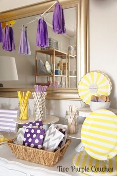 Pretty purple and yellow party! Cute and colorful ideas for bridal showers, baby showers, birthday parties, and wedding receptions.