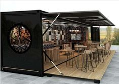 Pop-up container restaurant. Visit website to view more shipping container build examples. #restaurantdesign