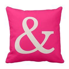 Hot Pink Ampersand Throw Pillow