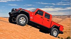 American Expedition Vehicles Brute Double Cab, the most capable overland pickup truck based on the Jeep JK Wrangler. Jeep Brute, New Jeep Truck, Jeep Pickup Truck, Jeep Wrangler Pickup, Jeep Jk, Aev Jeep, Cool Trucks, Big Trucks, American Expedition Vehicles