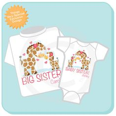 Super cute Set of two either tees or Onesies or one of each, Personalized Big Sister Girl and Baby Sister Girl Giraffe tee shirt with awesome Giraffes. If you don't see a listing in my store for the exact combination just send me a convo and I'll let you know how to order it in the combination you need.