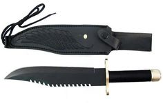 """15"""" Rambo First Blood Lifesaving Survival Bowie Hunting Camping Knife Black blade w/ Sheath by thebargainstore101. $39.99. Details  To celebrate the RAMBO movies that continued the legend of John Rambo. Each John Rambo knife measures 15"""" in overall length . Features a high quality stainless steel blade with slotted saw teeth  Free Economy Shipping only to the lower 48 US states only! We will not ship this item to P.O. Boxes. Please e-mail for shipping prices to AK, HI."""
