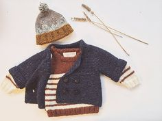 Tweed Navy Baby Peacoat, Knit Baby Cardigan, Cardigan Sweater, Simple Baby Coats, Knitted Baby Sweater, Baby Knitwear