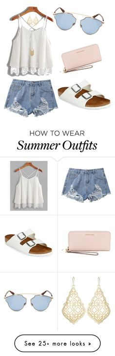 """""""Summer Outfit!"""" by jaylee-rain on Polyvore featuring Birkenstock, Christian Dior, Kendra Scott and MICHAEL Michael Kors"""