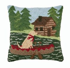 "Log Cabin Yellow Labrador Retriever Dog 16"" X 16"" Wool Hooked Throw Pillow by Peking Handicraft, http://www.amazon.com/dp/B008F7RXRI/ref=cm_sw_r_pi_dp_ijMLrb1XESGVG"