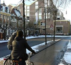 Winter cycling on a protected lane in Groningen, NL--the city with the highest per capita bike use on the planet. Photo: Byron Miller. click image for link to full profile and visit the slowottawa.ca boards >> https://www.pinterest.com/slowottawa/
