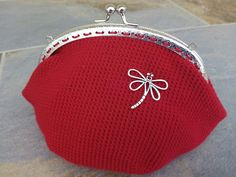 Monedero grande rojo con libélula