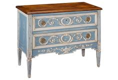 Bourne 2-Drawer Chest on OneKingsLane.com  Antique French flea market-like finds for your traditional home. This solid walnut and oak chest of drawers is hand-carved and hand-painted and finished with brass drawer pulls. $1499