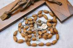 Vintage French large rosary olive stones by LaCroixRosion on Etsy
