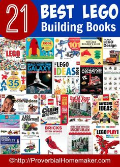 Need some great ideas for Lego building! Check out the 21 BEST Lego Building Books! Help your children have hours of creative fun! Lego Books, Used Legos, Lego Challenge, Lego Club, Lego Activities, Homeschool Curriculum, Homeschooling, Cool Lego, Awesome Lego