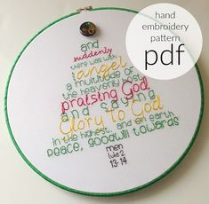 A perfect handmade gift to make for Christmas. Here are the key verses from Luke 2, telling the story of Christmas in the shape of a Christmas tree. This is a digital download pattern pdf file complete with full color instructions, color suggestions and a full pattern to print at home and get started stitching this awesome reminder of Gods love for us. All the supplies needed to complete this pattern can easily be found at any local craft store. You will need embroidery needles, an…