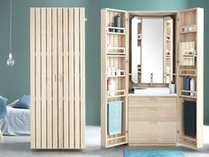 La Cabine is a perfect solution for a compact bathroom hidden within an oak wardrobe that was designed by Line Art - specialist in solid wood bathrooms in France for the La Fonction Wood Bathroom, White Bathroom, Small Bathroom, Bathrooms, Design Thinking, Transformers, Oak Wardrobe, Compact Bathroom, Tall Cabinet Storage