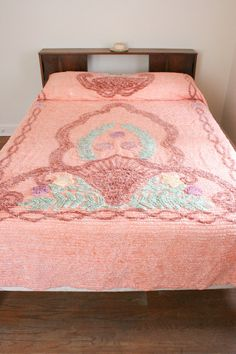 Peach Beach Shell Floral Chenille Bedspread Full/Queen. $170.00, via Etsy.