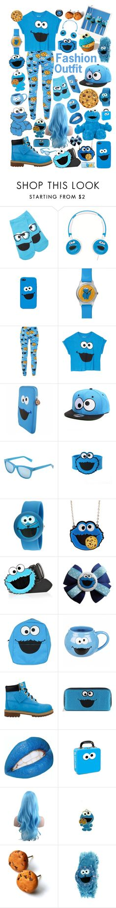 """""""Cookie Monster Outfit"""" by kitkatlyne ❤ liked on Polyvore featuring Forever 21, dreamGEAR, Sesame Street, Cole Haan, River Island, Timberland, Nexus and Lancôme"""