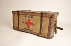 WWII Red Cross field medical trunk. Been a while since I came across something this cool...folds open to reveal an intact wicker component inside. Just amazing.