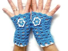 Hey, I found this really awesome Etsy listing at https://www.etsy.com/ca/listing/181248221/blue-cotton-gloves-with-crochet-flower