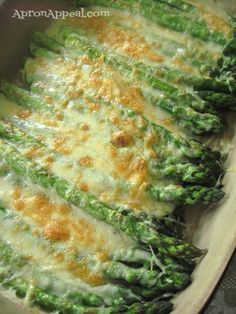 Asparagus Gratin (roast at 400 for 10 minutes, top with the au gratin sauce and cheese and broil it for 5 more minutes. )