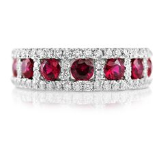 Ruby and Diamond 18ct White Gold Eternity Ring