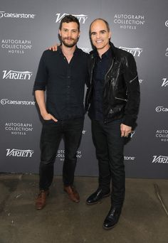Jamie Dornan poses for a photo with Michael Kelly.