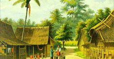 An poster sized print, approx (other products available) - Kampong: village scene Date: 1883 - Image supplied by Mary Evans Prints Online - Poster printed in the USA Minangkabau, Indonesian Art, Dutch East Indies, Traditional Paintings, Mural Art, Gravure, Poster Size Prints, Vintage Posters, Online Printing