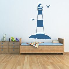 Lighthouse With Seagulls At The Beach Wall Sticker Bathroom Home Decor Art Decal