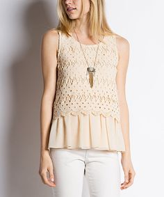 Look at this Ezra Cream Eyelet Tank on #zulily today!