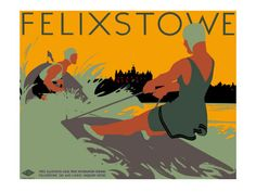 """Felixstowe - L."", - Graphic and Illusration Poster byTom Purvis (b. 1888 - d. Posters Uk, Railway Posters, Harlem Renaissance, Illustrator, Seaside Holidays, Most Famous Artists, British Rail, British Isles, British Seaside"
