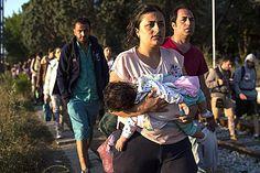 Migrant families walk along train tracks towards the Macedonian border