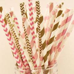 Pink and Gold Paper Straws Party Mix Metallic by RoadSideChick