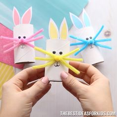 This toilet paper roll bunny is an easy Easter craft for kids. Make a paper roll bunny in different colors. Easy for kids of all ages to make!- such a cute Easter craft for kids! Winter Crafts For Kids, Halloween Crafts For Kids, Spring Crafts, Diy For Kids, Holiday Crafts, Kids Crafts, Craft Projects, Decor Crafts, Preschool Crafts