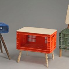 Recycled furniture plastic boxes