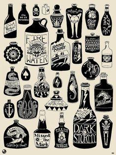 Afbeeldingsresultaat voor black and grey traditional tattoo flash Tattoo Old School, Bottle Tattoo, Tatuagem Old School, Bottle Drawing, Bild Tattoos, Traditional Tattoo, Future Tattoos, Body Art, Tattoo Designs