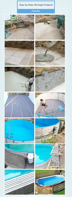 Build your own oval pool step-by-step - Garten - Garden Deck Swiming Pool, Natural Swimming Pools, Diy Pool, Swimming Pools Backyard, Pool Garden, Diy Garden, Patio Pergola, Modern Pergola, Pergola Plans