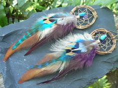 grapevine feather dreamcatcher earrings turquoise and amethyst  in native american inspired  tribal boho belly dancer and hipster style on Etsy, $26.50