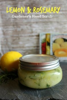 An easy tutorial for how to make Lemon & Rosemary gardener's hand scrub yourself. A deliciously scented & effective DIY hand scrub for cleaning dirty hands.