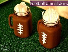 Football Utensil Jars  *easy, made my own