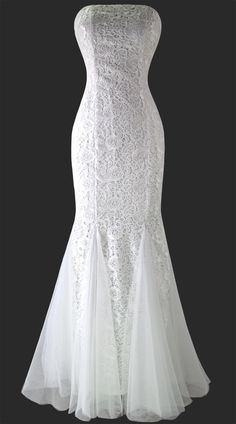 New Arrival Lace & Mesh Dress—— 2015 Strapless Lace Mesh Lace Up Mermaid Full Length Party Dress Wedding Dress for Women  | DHgate