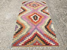 Pink Kilim rug, Vintage zig zag pattern Turkish rugs, Turkish Kilim Rug, Area Rug, designer pick rug, floor rug, vintage rug 115.5'' x 58''