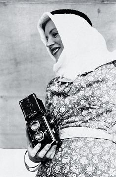 Lee Miller with Rolleiflex camera, Egypt, 1935. Photographer unknown ~ In Egypt Miller continued to take photographs and gather around her a glittering array of intellectuals and artists. Three years of Egypt and marriage was enough, however, and in 1937 Miller returned to Paris