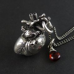 Anatomical Heart Necklace with Sterling Silver Wire por LostApostle, $80.00