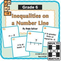 """Grade 6 Multi-Match Game Cards for Inequalities on a Number Line: This printable 36-card set will help students interpret and match various representations for one-variable inequalities and learn verbal expressions (CCSS 6.EE.8). The """"E"""" is for the Expressions and Equations domain. ~by Angie Seltzer"""