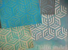 Hexagon Schablonendruck ©muellerinart Handicraft, Quilts, Patterns, Abstract, Artwork, Design, Inspiration, Papier Mache, Stamping Up
