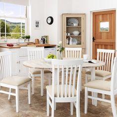 Extendable Dining Table 6 Seater White Rectangular Drawer Storage Wood Furniture