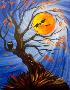 Spooky Tree Holding The Moon Easy Acrylic Painting Step By Step Days Of Halloween Acrylic Painting For Beginners, Simple Acrylic Paintings, Step By Step Painting, Beginner Painting, Acrylic Art, Acrylic Painting Canvas, Painting Tutorials, Halloween Canvas Paintings, Halloween Painting