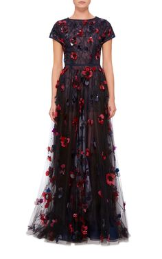 Oscar de la Renta Bead And Floral Embroidered Gown